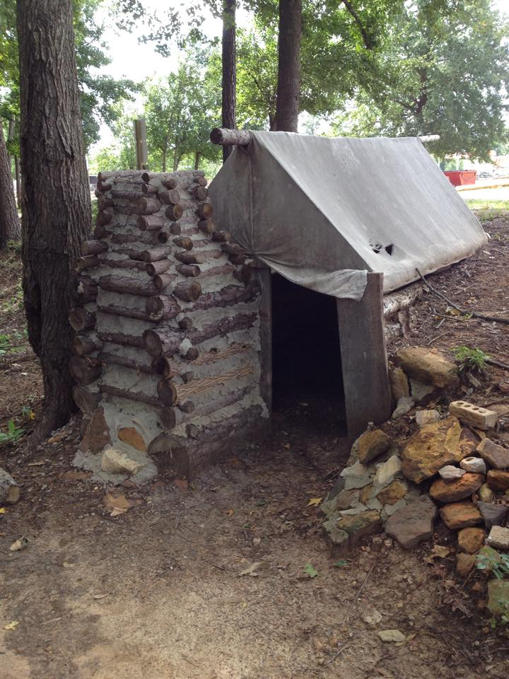Tent and Log Shelter at Camp Ford. Tyler.Texas